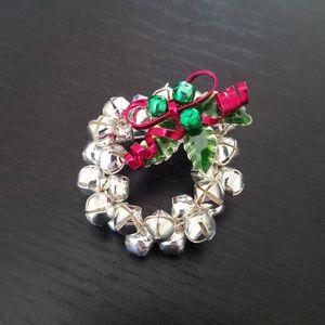 Silver Bells Christmas Wreath Pin/Brooch
